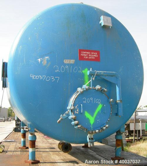 """Used: Pfaudler glass lined tank, 2000 gallon, 9114 blue glass, horizontal. Approximately 84"""" diameter x 6' straight side, di..."""