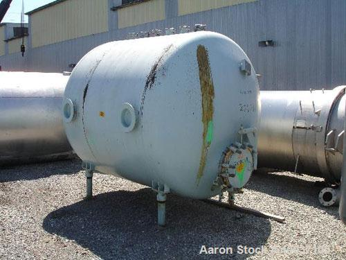 "Used- Pfaudler Glass Lined Tank, 2000 gallon, 9114 blue glass, horizontal. Approximately 84"" diameter x 6' straight side, di..."