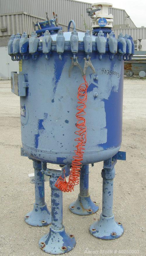 "Used- Pfaudler glass lined receiver tank, 100 gallon, type 9115 glass, vertical. Approximate 32"" diameter x 28"" straight sid..."