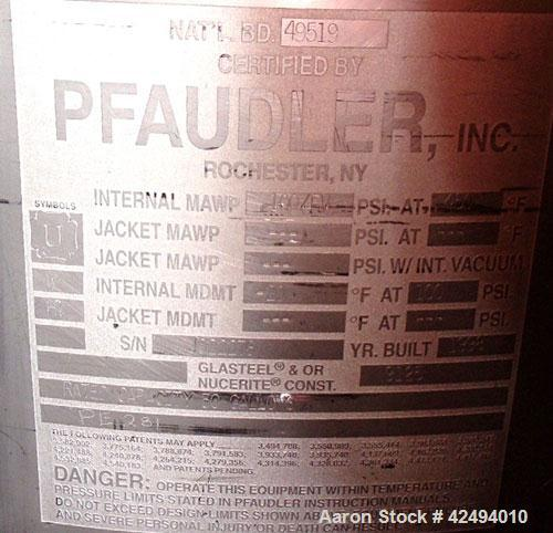 Used- Pfaudler Glass Lined Receiver, 30 Gallon. Flat top, coned bottom. Internal rated 100 psi & FV at 450 degrees F.. 9125 ...