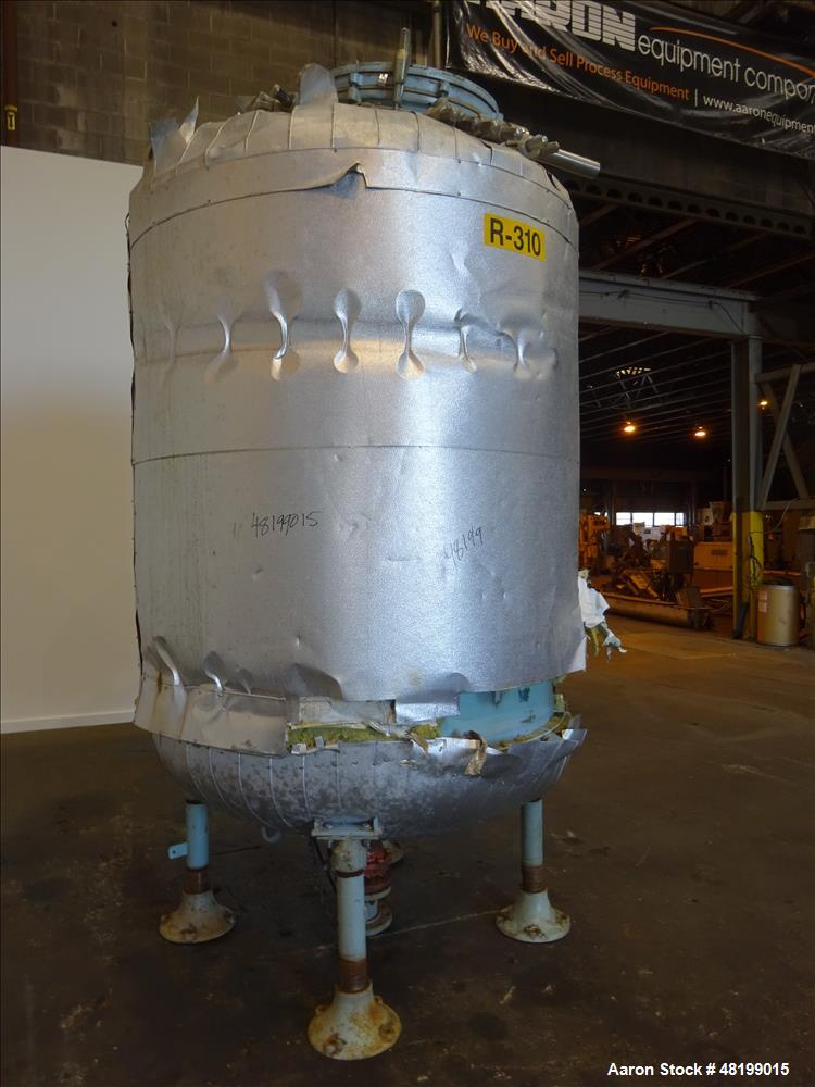 Used- Pfaudler Glass Lined Tank, 1000 Gallon, 9119 Blue Glass, Vertical.