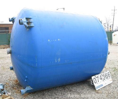 "Used- Pfaudler 2000 Gallon Glass Lined Vertical Chemstor Tank. 80"" Diameter x 68"" straight side. Dished heads. Internal 35 p..."
