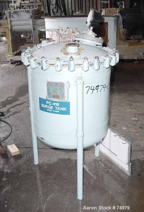 """Used- Pfaudler Glass Lined Receiver Tank, 50 Gallon, Vertical, 5915 Glass. Approximate 24"""" diameter x 23"""" straight side. Dis..."""