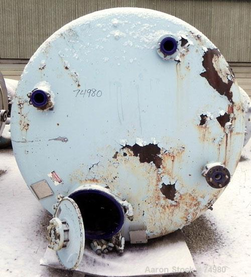 """Used- Pfaudler Closed Top Glass Lined Receiver Tank, 2000 Gallon, Type 5014 Glass, Vertical. 83"""" Diameter x 76"""" straight sid..."""