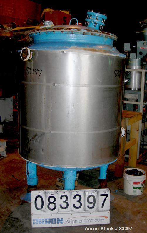"""USED: Pfaudler glass lined jacketed receiver tank, 200 gallon, 5015 glass, vertical. 35"""" diameter x 48"""" straight side. Dish ..."""