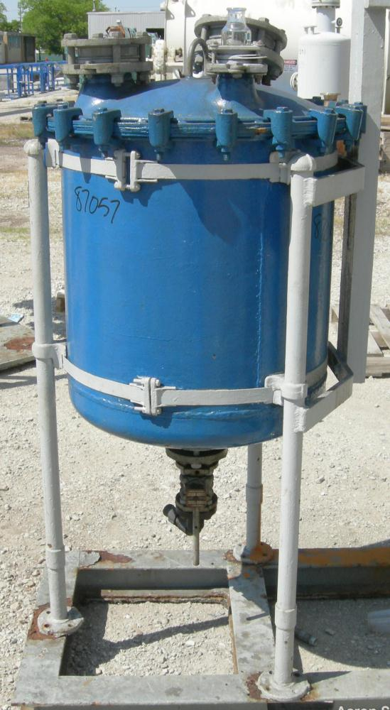 "Used- Pfaudler Glass Lined Receiver Tank, 50 Gallon, Vertical. Approximately 24"" diameter x 24"" straight side. Bolt-on dish ..."