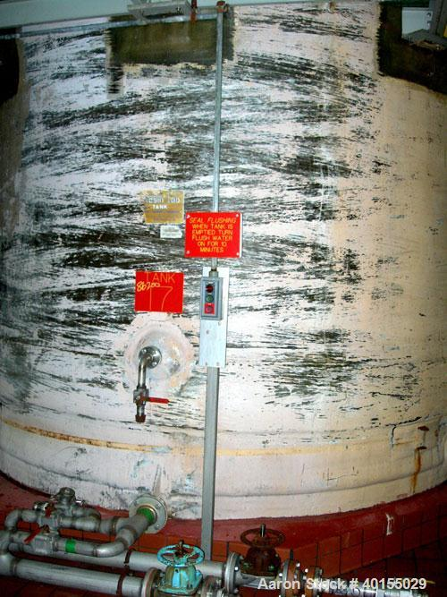 "Used:  Resin Fab tank, 10,000 gallon, fiberglass, vertical. Approximately 144"" diameter x 144"" straight side. Flat top and b..."