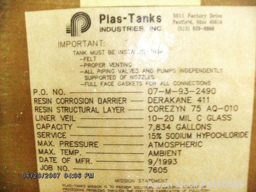 Used-Fiberglass Tank, 8,500 Gallon Capacity. 11.5' diameter x 12' high, equipped with 2 hp mixer on top with 4 ft wide impel...