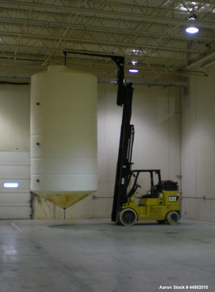"Used-Plastic Tank, 6,000 Gallon, Vertical.  102"" Diameter x 195"" high, cone bottom, dome top, 30"" twist off manway cover, 3""..."