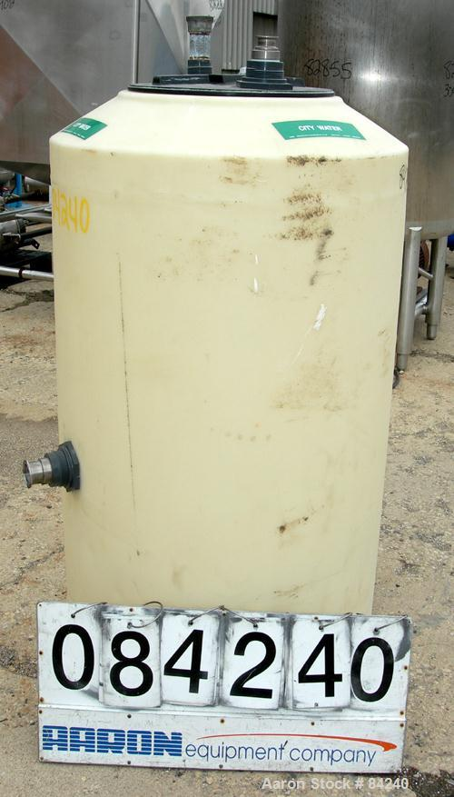 """USED: Tank, 150 gallon, plastic construction, vertical. 30"""" diametr x 50"""" straight side. Coned top, flat bottom. Openings: t..."""