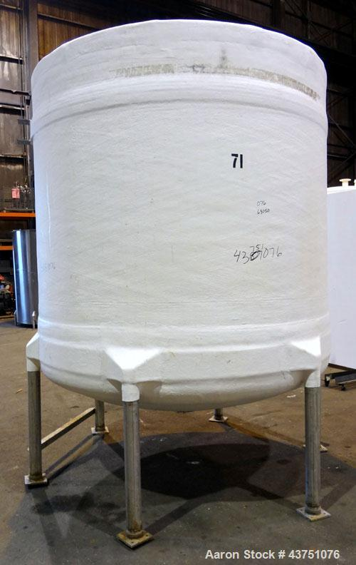 "Used- Air Plastics Fiberglass Storage Tank, 2050 Gallons, Vertical. Approximate 84"" diameter x 80"" straight side, dished top..."