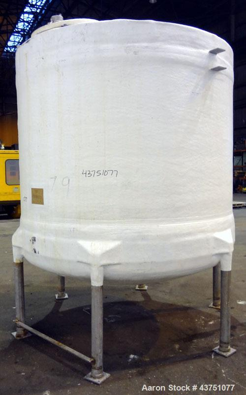"""Used- Air Plastics Fiberglass Storage Tank, 2050 Gallons, Vertical. Approximate 84"""" diameter x 80"""" straight side, dished top..."""