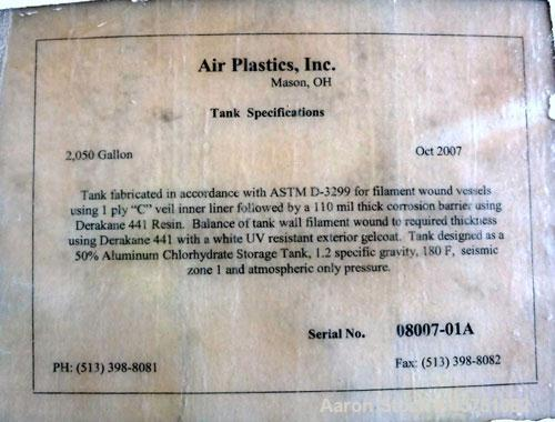 """Used- Air Plastics Fiberglass Storage Tank, 2050 Gallons, Vertical. Approximately 84"""" diameter x 80"""" straight side, dished t..."""