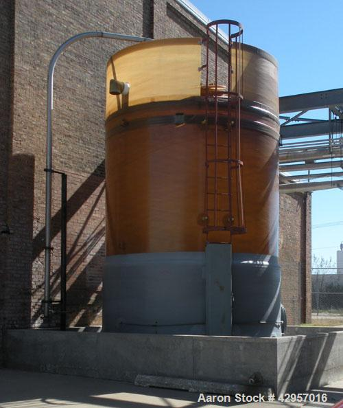 Used-Belding 13,827 Gallon Fiberglass Vertical Tank Salt Brine Maker, model CCFV1213827, Dish Top and Flat Bottom. Atmosphe...