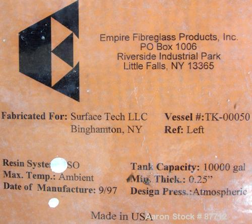 """USED: Empire Products tank, 10,000 gallon, fiberglass, vertical. Approximate 9' diameter x 256"""" straight side. Dish top, fla..."""
