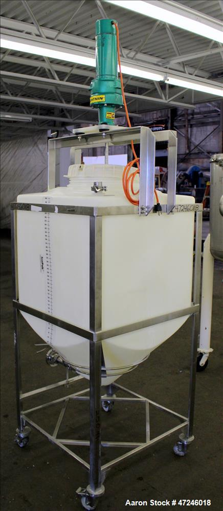 Used- Millipore Plastic Mix Tank, Approximate 110 Gallon, Vertical.