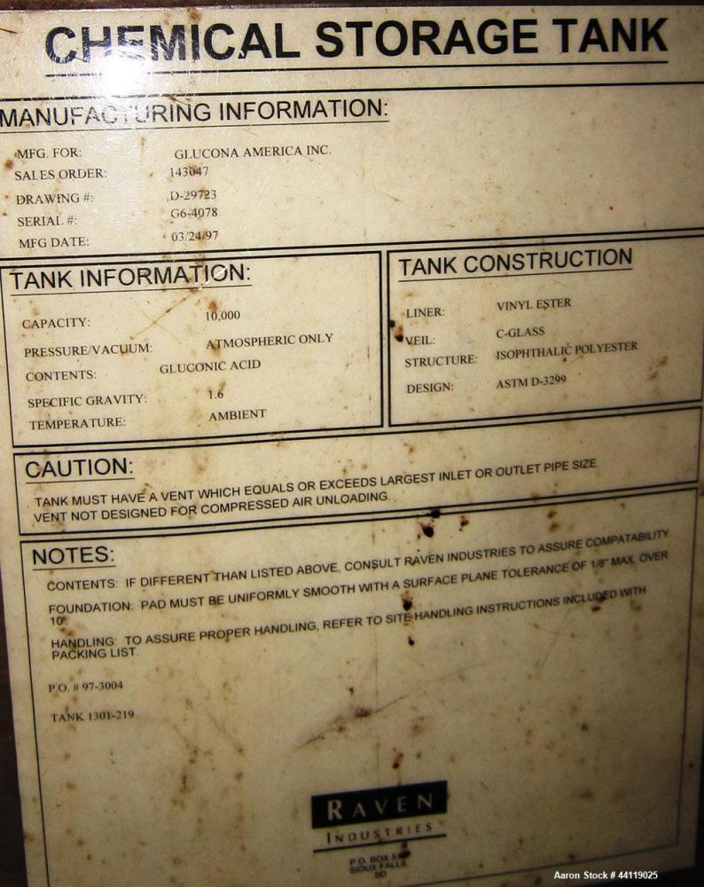"Used-10,000 Gallon, Raven, Fiberglass Tank, 8'6"" Diameter, 11' Straight Side, Flat Bottom, Dish Top, 24"" Side Entering Manway"