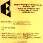 Used- Empire Fibergalss Products Tank, 100 Gallon, Fiberglass, Vertical. Approximate 30