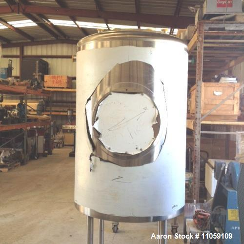 Unused- Sanitary Construction Tank, Approximately 200 Gallon, Vertical. Dish top and bottom. Mounted on 3' legs. Approximate...