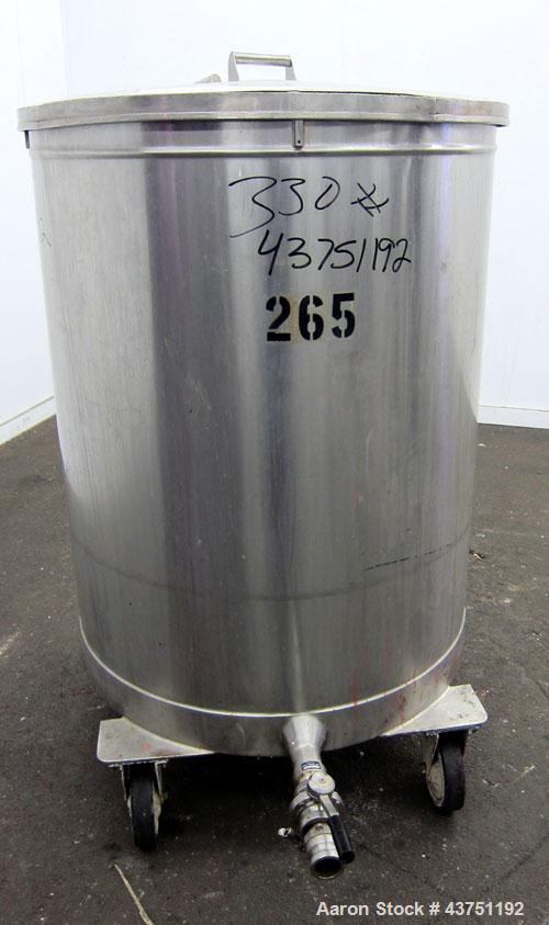 """Used- Tank, 200 Gallon, 304 Stainless Steel, Vertical. Approximate 38"""" diameter x 47"""" straight side. Open top with a 1 piece..."""