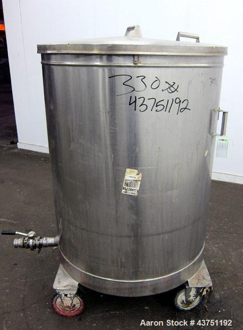 "Used- Tank, 200 Gallon, 304 Stainless Steel, Vertical. Approximate 38"" diameter x 47"" straight side. Open top with a 1 piece..."