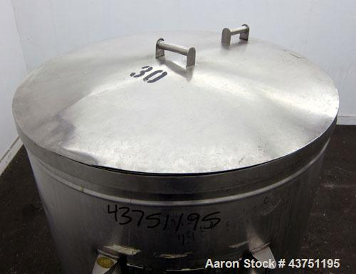"""Used- Tank, 200 Gallon, 304 Stainless Steel, Vertical.  Approximately 38"""" diameter x 47"""" straight side.  Open top with a 1 p..."""
