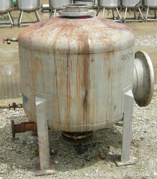 "Used- Douglas Brothers tank, 100 gallon, 321 stainless steel, vertical. 36"" diameter x 24"" straight side, dished top and bot..."