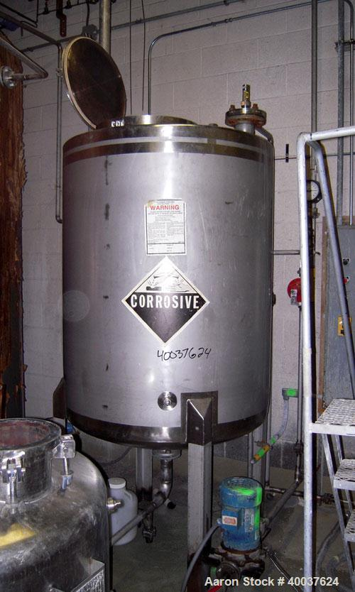 "Used- Tank, 325 gallon, stainless steel, vertical. 42"" diameter x 50"" straight side, flat top, dished bottom. Openings top 1..."