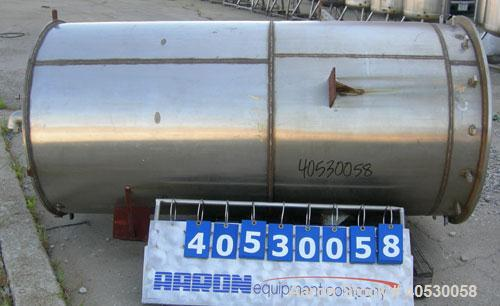 "Used- Tank, 400 gallon, 304 stainless steel, vertical. Approximately 38"" diameter x 78"" straight side, open top, no cover, d..."