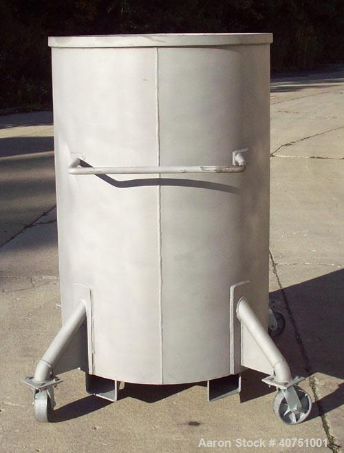 """Unused-240 Gallon Type 304L Stainless Steel Tank. 36"""" inside diameter x 54"""" deep. Open top with cover. Flat bottom. On caste..."""