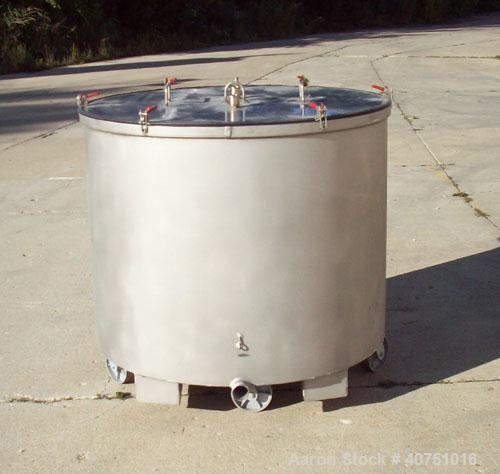 """Unused-245 gallon type 304L stainless steel tank. 45"""" inside diameter x 36"""" deep. Open top with cover. Flat bottom. On caste..."""