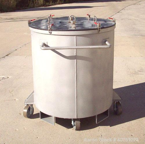 """Unused-157 Gallon Type 304L Stainless Steel Tank. 36"""" inside diameter x 36"""" deep. Open top with cover. Flat bottom. On caste..."""