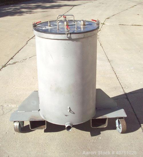 """Unused-55 gallon type 304L stainless steel tank. 22"""" inside diameter x 34"""" deep. Open top with cover. Flat bottom. On caster..."""