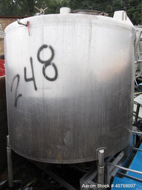 Used-Tank, approximately 500 gallon, stainless steel, vertical.