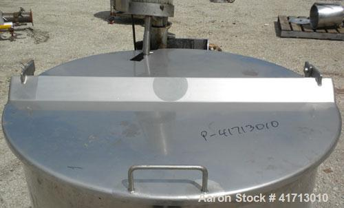 """Used- Tank, Approximate 140 Gallon, 316 Stainless Steel, Vertical.  34"""" diameter  x 36"""" straight side, flat top with hinged ..."""