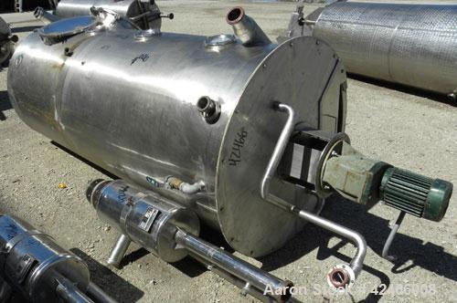 """Used-Tank, 490 Gallon, 321 Stainless Steel, Vertical. 39"""" diameter x 96"""" straight side, flat bolt on top and flat bottom. 2 ..."""