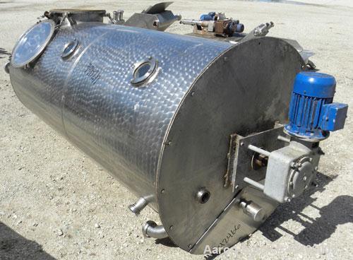 "Used-Tank, 480 Gallon, 304 Stainless Steel, Vertical. 39"" diameter x 93"" straight side, flat bolt top, flat bottom. 3"" diame..."