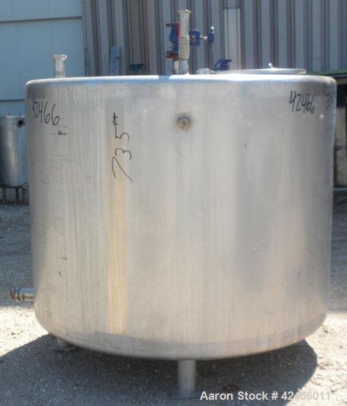 "Used-Tank, 350 Gallon, 304 Stainless Steel, Vertical. 52"" diameter x 38"" straight side, flat top and bottom. Bottom spray ri..."