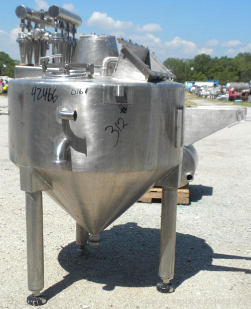 """Used-Tank, 80 Gallon, 304 Stainless Steel, Vertical. 39"""" diameter x 16"""" straight side x 25"""" cone, Flat top, coned bottom. Mo..."""