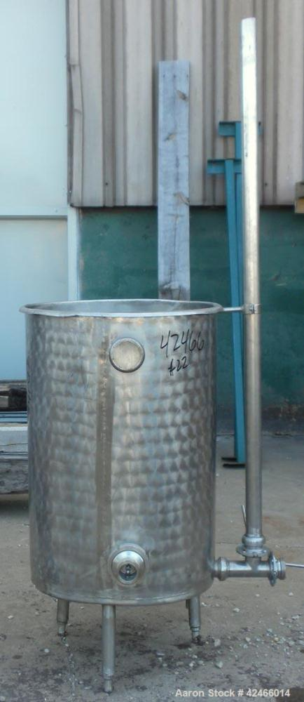 "Used-Lot Of (6) Tanks: (2) Tanks, 304 Stainless Steel, Vertical. 24"" diameter x 25"" straight side, flat bolt top, coned bott..."