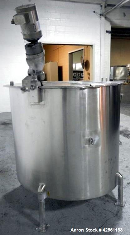 """Used- Bush Tank, 425 gallon, stainless steel construction, approximately 52"""" diameter x 48"""" straight side, open top with cov..."""