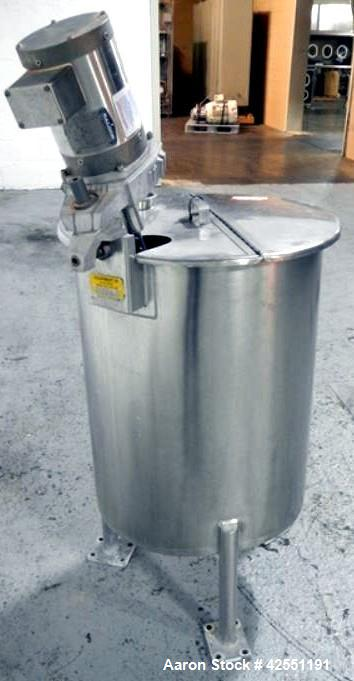 """Used- Bush Tank, 60 gallon, stainless steel construction, approximately 24"""" diameter x 32"""" straight side, open top with hing..."""