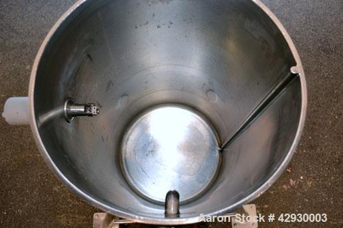 """Used- Tank, 30 Gallon, 316 Stainless Steel, Vertical. 17-1/2"""" Diameter x 30"""" straight side. Open top, no cover, sloped botto..."""