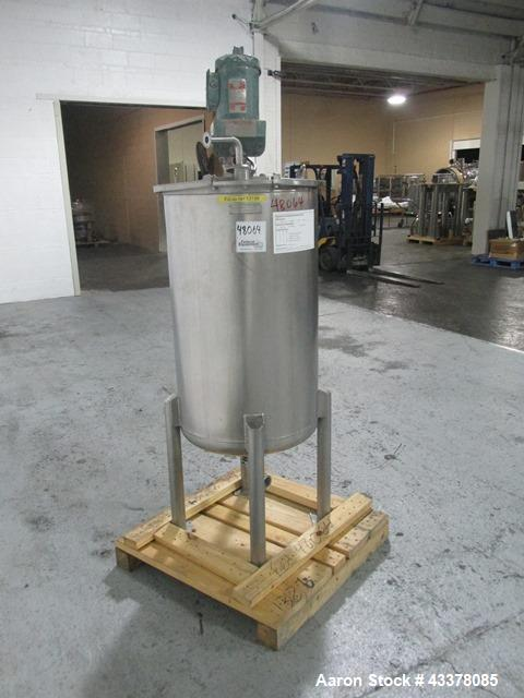 "Used- Flo Bin Mix Tank, 63 Gallon, Stainless Steel. Approximately 22"" diameter x 36"" straight side, open top with cover, dis..."