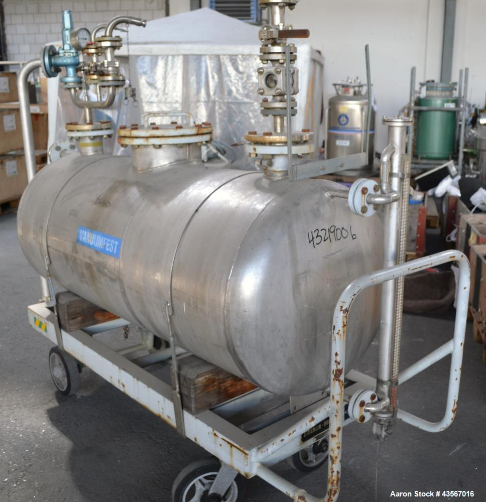 Used- Mobile Tank, Approximate 630 Liter (166.48 Gallon), Stainless Steel, Horizontal. Approximate 27 diameter x 62 straight...