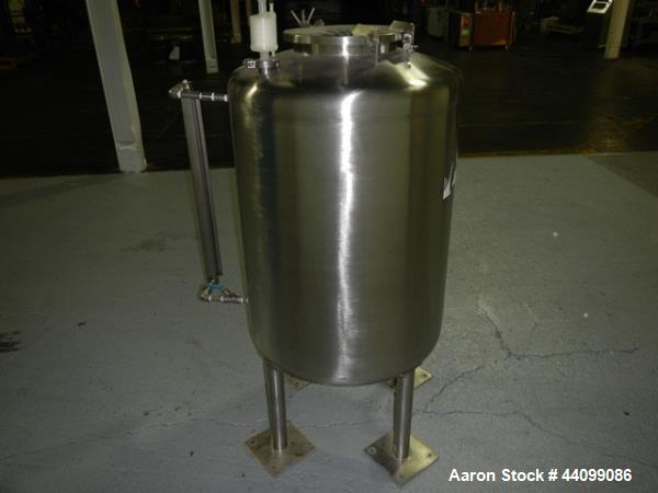 """Used- Tank, 75 gallon stainless steel, approximately 28"""" diameter x 30"""" straight side, dish top and bottom, 12"""" hand hole, 1..."""