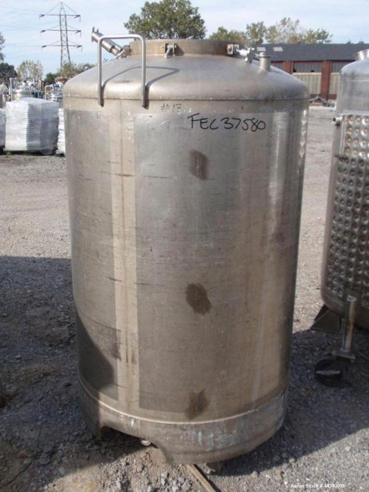 """Used- Tank, 200 Gallon, Stainless Steel. Approx. 38"""" diameter x 42"""" straight side, dished top and bottom, 18"""" top access por..."""