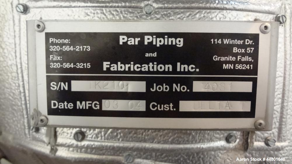 Used- 275 Gallon Stainless Steel Par Piping & Fabrication Tank, Model X5C100
