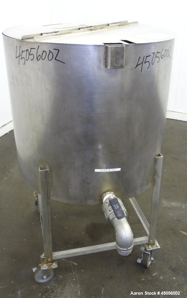 "Used- Tank, 80 Gallon, 304 Stainless Steel, Vertical. Approximately 30-1/2"" diameter x 27"" straight side, open top with (2) ..."