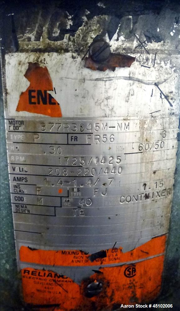 Used- 458 Gallon Stainless Steel Haza Mechanical Tank, Model XJ-30